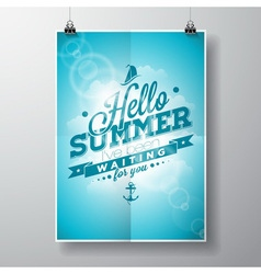 Hello summer inspiration quote cloud background vector