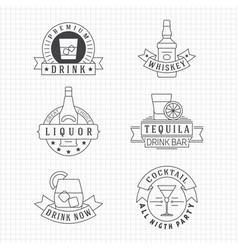alcohol drinks thin line emblems on notebook page vector image