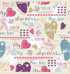 Background with red and blue valentine heart vector