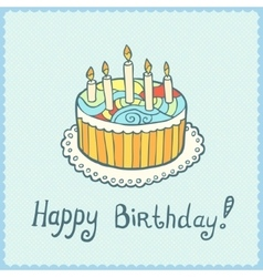 Birthday card with cake on blue textured vector image vector image