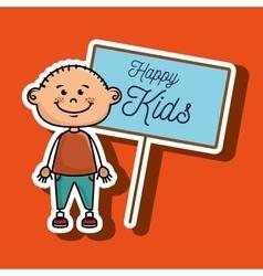 Boy kids happy poster vector