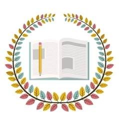 Crown of leaves with notebook and pencil vector