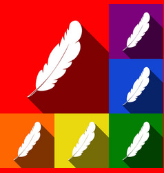 Feather sign set of icons vector