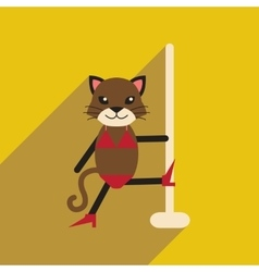 Flat icon with long shadow cat cartoon vector