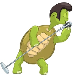 Funny Turtle Singing vector image