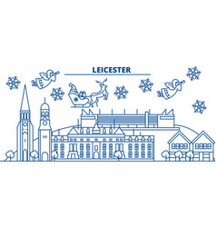 great britain leicester winter city skyline vector image vector image