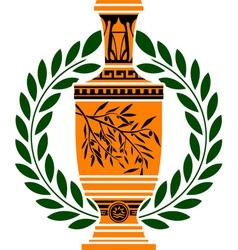 Greek vase with laurel wreath vector