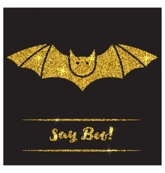 Halloween gold textured bat icon vector image vector image