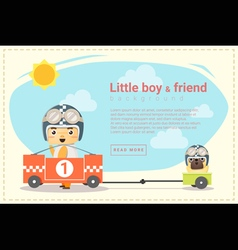 Little boy racer and friend background vector image