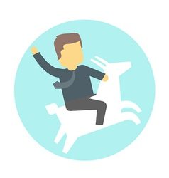 Man in tie on goat vector