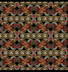 meander paisley seamless pattern bright black red vector image