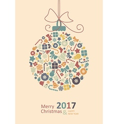 Merry christmas card happy new year vector