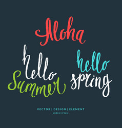 modern hand drawn lettering word aloha hello vector image