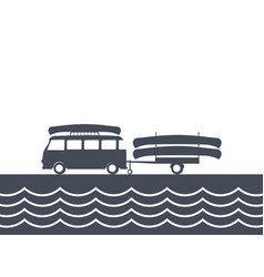 Monochrome camping bus with canoe and trailer vector