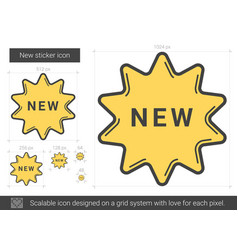 New sticker line icon vector