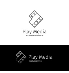 Outline film logo with play sign media vector
