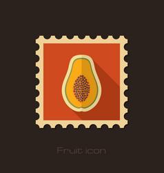 Papaya flat stamp tropical fruit vector