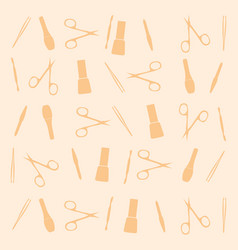 Pattern manicure tools on a yellow background vector