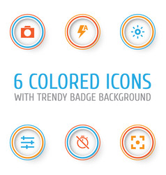 Picture icons set collection of thunder capture vector