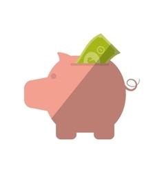 piggy money bill dollar color shadow vector image vector image
