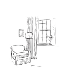 Place for reading chair and window sketch vector