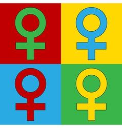 Pop art gender female icons vector image vector image