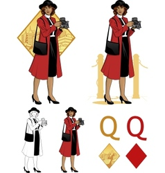 Queen of diamonds afroamerican woman photographer vector image vector image