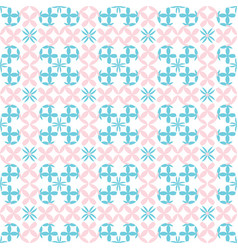 Seamless flowers baby pink and blue pattern vector