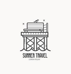 Seaside summer travel logotype vector