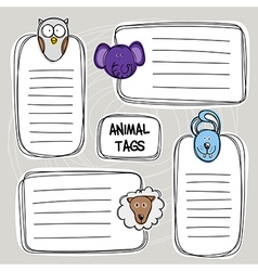 set of hand drawn funny doodle tags with animals vector image