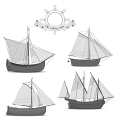 Set of old sailing ships vector