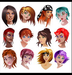 set of portraits of girls vector image