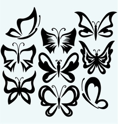 Set symbol butterflies vector image