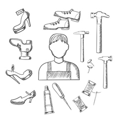 Shoemaker profession and tools sketch icons vector