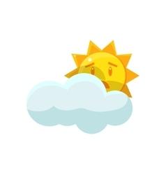 Sun hiding behind the cloud vector