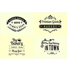 Typography bakery badge design set vector