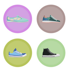 Various modern sneakers flat icons set vector