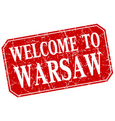 Welcome to warsaw red square grunge stamp vector