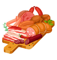 with meat products on wooden cutting vector image vector image