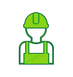 worker sign lemon scribble icon on white vector image vector image