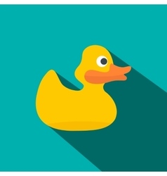 Yellow duck for bath flat icon vector
