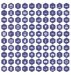 100 parking icons hexagon purple vector