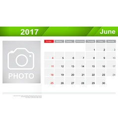 Year 2017 june month simple and clear design vector