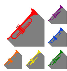Musical instrument trumpet sign set of red vector