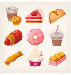 Fast food dessert goods vector