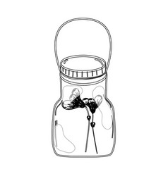 Contour flowers inside jar with nature botany vector
