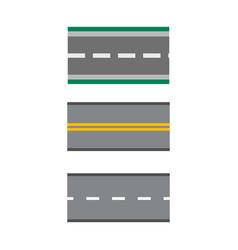 template set of straight asphalt roads highways vector image