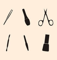 Manicure and chiropody tools collection vector