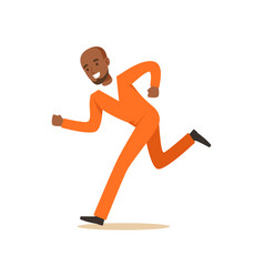 Criminal black man in an orange uniform is running vector