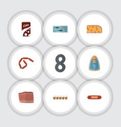 Flat icon meal set of kielbasa fizzy drink vector